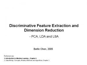 Discriminative Feature Extraction and Dimension Reduction PCA LDA
