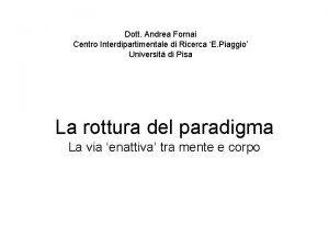 Dott Andrea Fornai Centro Interdipartimentale di Ricerca E