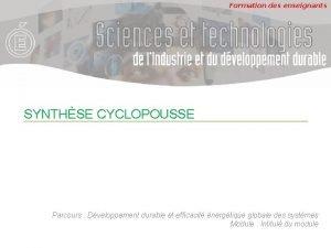 Formation des enseignants SYNTHSE CYCLOPOUSSE Parcours Dveloppement durable