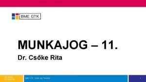 MUNKAJOG 11 Dr Cske Rita Munkajog 201520162 BME