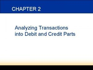 CHAPTER 2 Analyzing Transactions into Debit and Credit