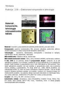 TEHNIKA Podroje 2 09 Elektronske komponente in tehnologije