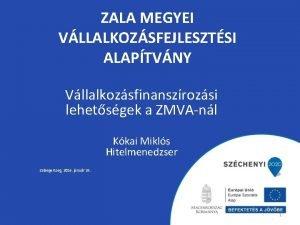 ZALA MEGYEI VLLALKOZSFEJLESZTSI ALAPTVNY Vllalkozsfinanszrozsi lehetsgek a ZMVAnl