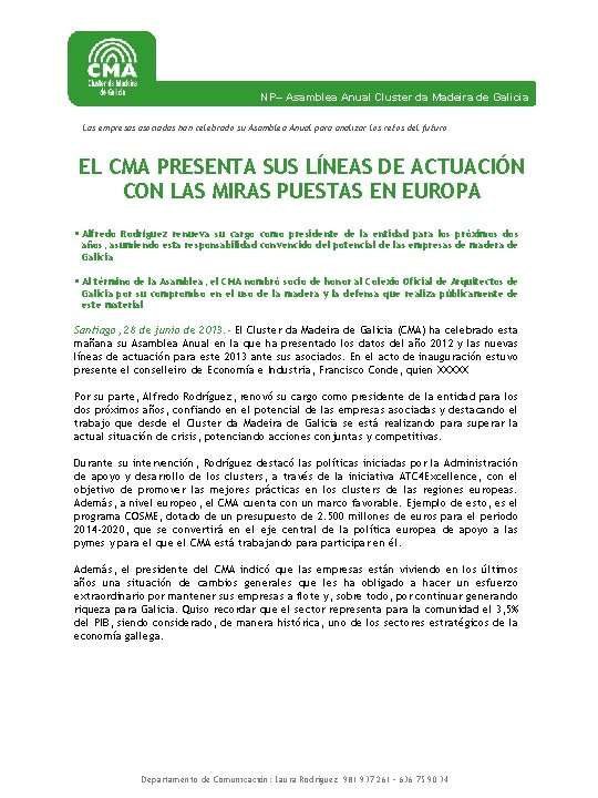 NP Asamblea Anual Cluster da Madeira de Galicia