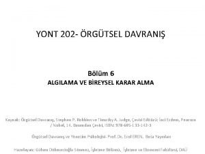 YONT 202 RGTSEL DAVRANI Blm 6 ALGILAMA VE