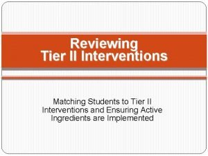 Reviewing Tier II Interventions Matching Students to Tier