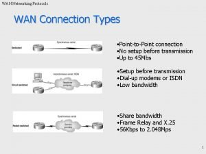 WAN Networking Protocols WAN Connection Types PointtoPoint connection