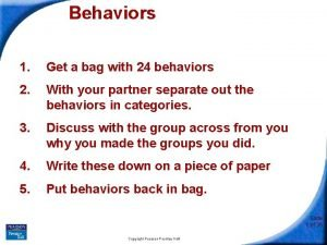 Behaviors 1 Get a bag with 24 behaviors