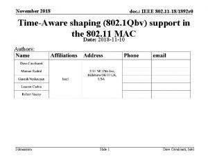 November 2018 doc IEEE 802 11 181892 r