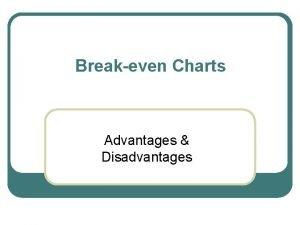 Breakeven Charts Advantages Disadvantages Advantages Quick and simple