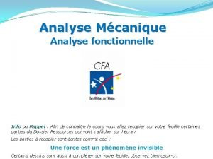 Analyse Mcanique Analyse fonctionnelle Info ou Rappel Afin