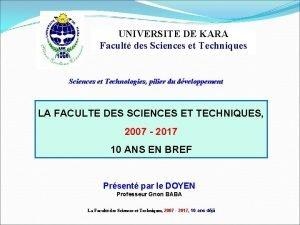 UNIVERSITE DE KARA Facult des Sciences et Techniques