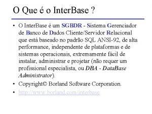 O Que o Inter Base O Inter Base