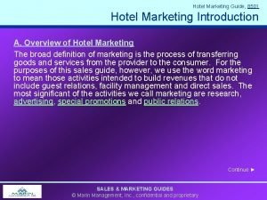 Hotel Marketing Guide 8501 Hotel Marketing Introduction A