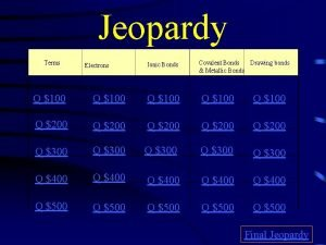 Jeopardy Terms Electrons Ionic Bonds Covalent Bonds Drawing
