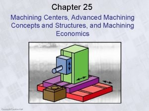 Chapter 25 Machining Centers Advanced Machining Concepts and