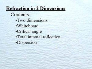 Refraction in 2 Dimensions Contents Two dimensions Whiteboard