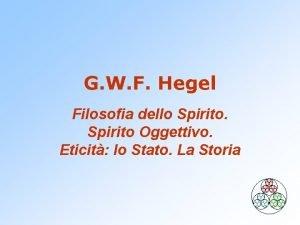 G W F Hegel Filosofia dello Spirito Oggettivo