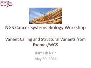 NGS Cancer Systems Biology Workshop Variant Calling and
