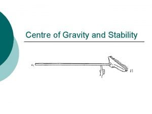 Centre of Gravity and Stability CENTRE OF GRAVITY
