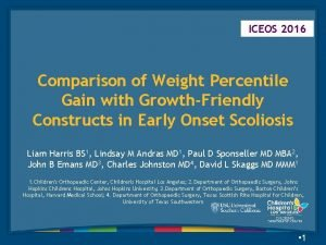 ICEOS 2016 Comparison of Weight Percentile Gain with