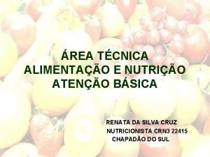 REA TCNICA ALIMENTAO E NUTRIO ATENO BSICA RENATA