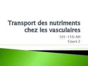 Transport des nutriments chez les vasculaires 101 110