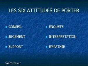 LES SIX ATTITUDES DE PORTER CONSEIL ENQUETE JUGEMENT