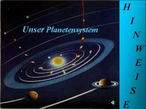 Unser Planetensystem H I N Unser W Planeten