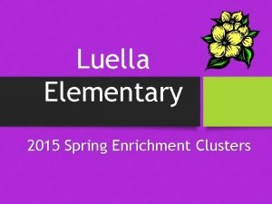 Luella Elementary 2015 Spring Enrichment Clusters Enrichment Cluster