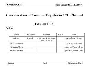 November 2018 doc IEEE 802 11 181994 r