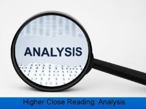 Higher Close Reading Analysis Imagery Higher Close Reading