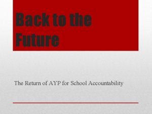 Back to the Future The Return of AYP