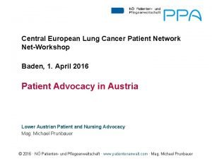 Central European Lung Cancer Patient Network NetWorkshop Baden