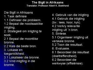 The Big 6 in Afrikaans Translator Professor Albert