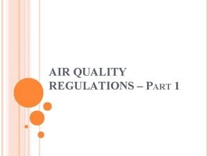 AIR QUALITY REGULATIONS PART 1 OBJECTIVES Air Quality