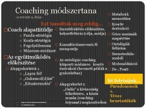 Coaching mdszertana a sorozat 4 dija azonostsa Ezt