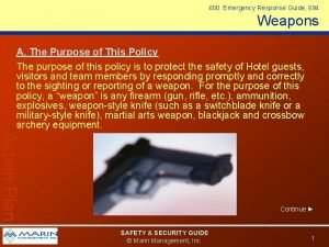 600 Emergency Response Guide 694 Weapons Emergency Action