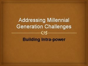 Addressing Millennial Generation Challenges Building Intrapower Being Introspective