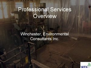 Professional Services Overview Winchester Environmental Consultants Inc Company
