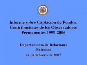 Informe sobre Captacin de Fondos Contribuciones de los