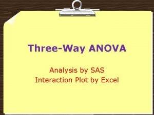 ThreeWay ANOVA Analysis by SAS Interaction Plot by