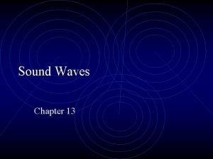 Sound Waves Chapter 13 General Characteristics Longitudinal wave