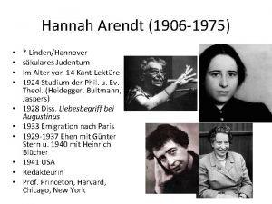 Hannah Arendt 1906 1975 LindenHannover skulares Judentum Im