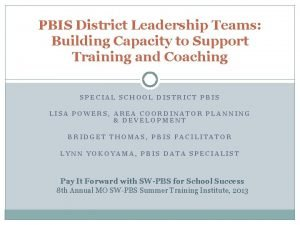 PBIS District Leadership Teams Building Capacity to Support