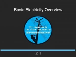 Basic Electricity Overview 2016 Basic Electricity Overview Training