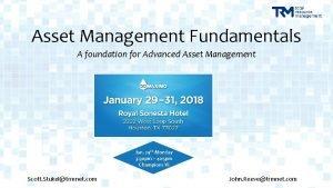 Asset Management Fundamentals A foundation for Advanced Asset