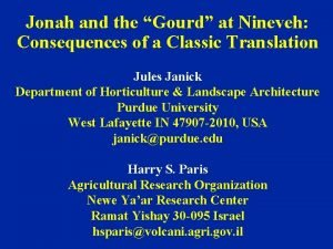 Jonah and the Gourd at Nineveh Consequences of