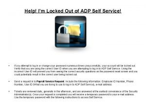Help Im Locked Out of ADP Self Service