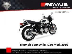 BIKE INFO 142016 Triumph Bonneville T 120 Mod